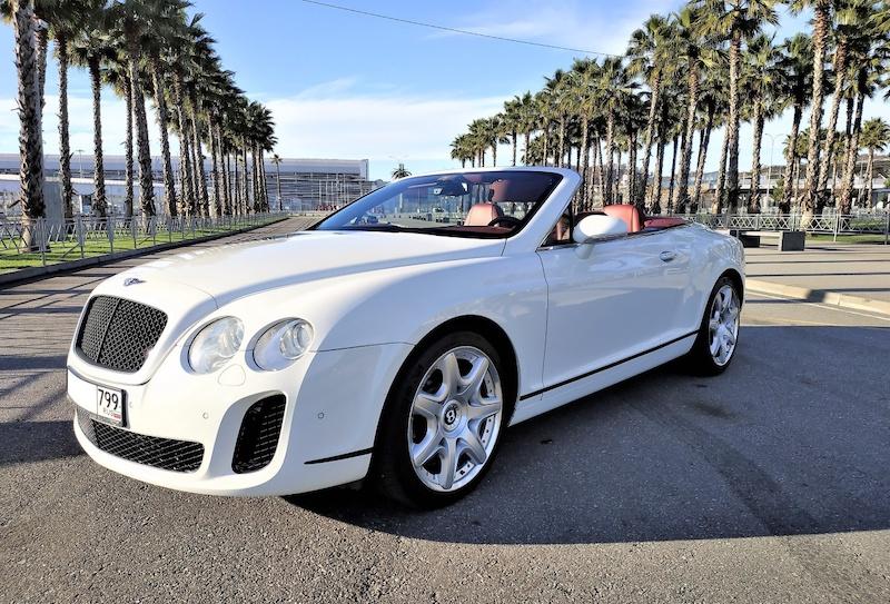 прокат Бентли Континенталь Bentley Continental GTС белый кабриолет Сочи
